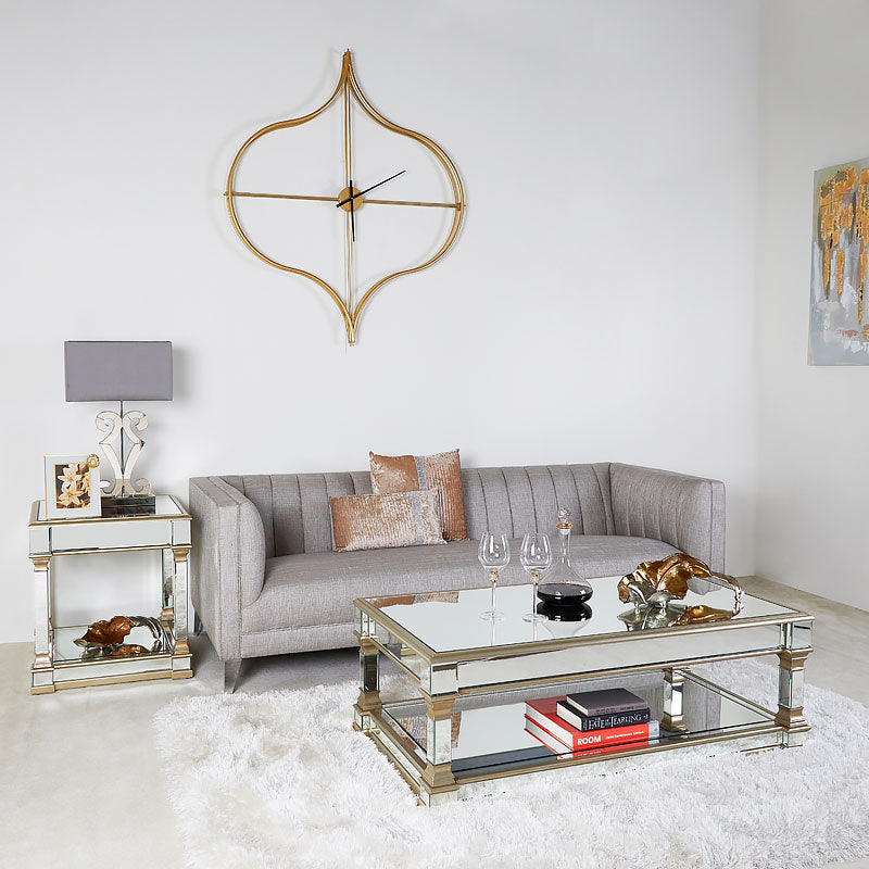 Polo Champagne Gold Mirrored Low Coffee Table - ImagineX Furniture & Interiors