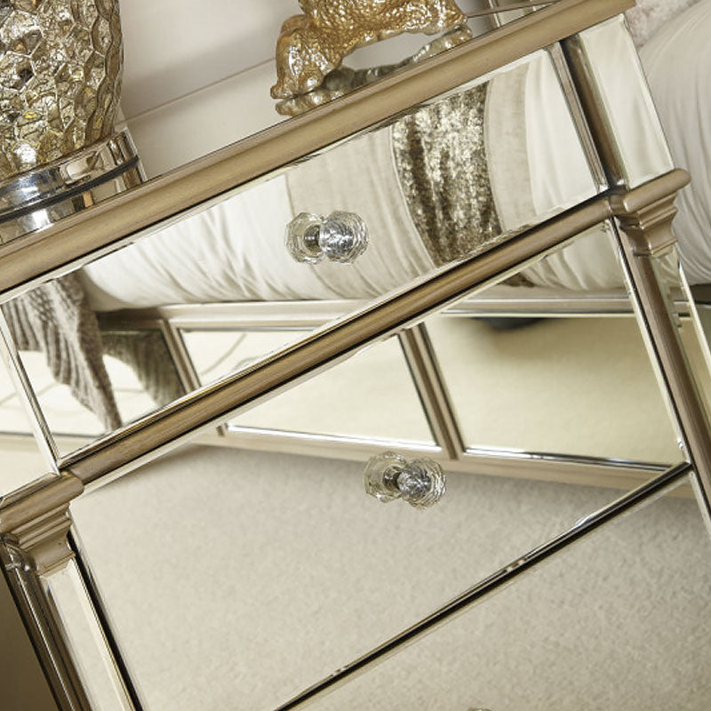 Polo Champagne Gold Mirror 3 Drawer Bedside Cabinet - ImagineX Furniture & Interiors