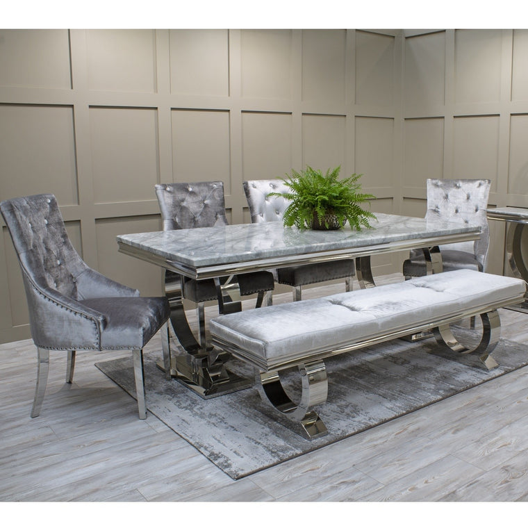Arianna Grey Marble & Chrome `O` 180cm Dining Table + Belle Velvet Dining Chairs + Bench