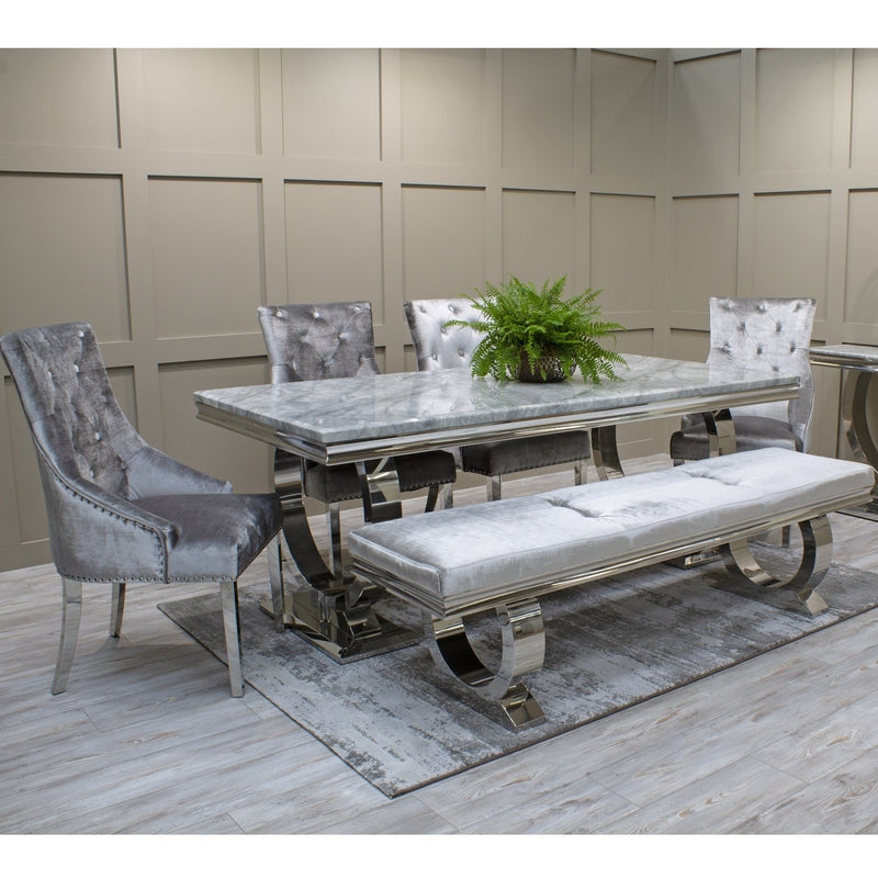 Arianna Grey Marble & Chrome `O` 180cm Dining Table + Belle Velvet Dining Chairs + Bench - ImagineX Furniture & Interiors