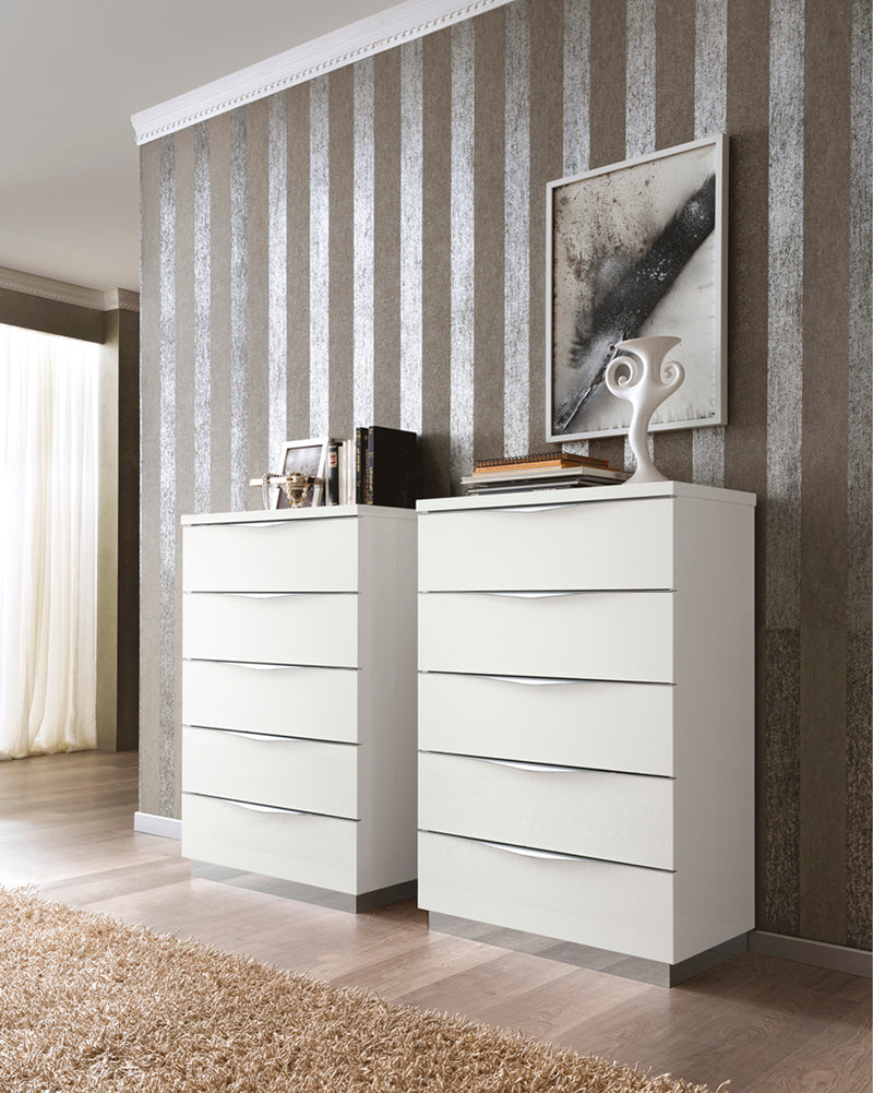 Onda White High Gloss Italian 5 Drawer Chest - ImagineX Furniture & Interiors