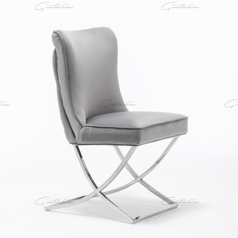 Belgravia Dark Grey French Plush Velvet Button Back Dining Chair With Chrome Legs
