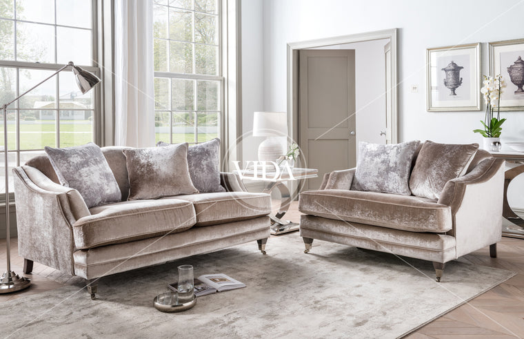 Belvedere 2 Seater Fabric Sofa with 3 Seater Scatter Cushions - Champagne
