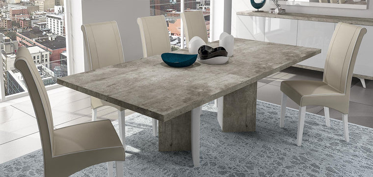 Treviso Stone Effect Italian 180cm Extended Dining Table + Chairs Set