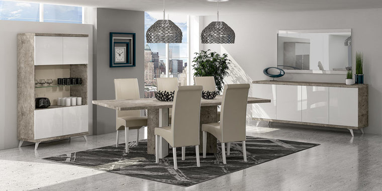 Treviso Stone Effect Italian 160cm Fixed Dining Table + Chairs Set