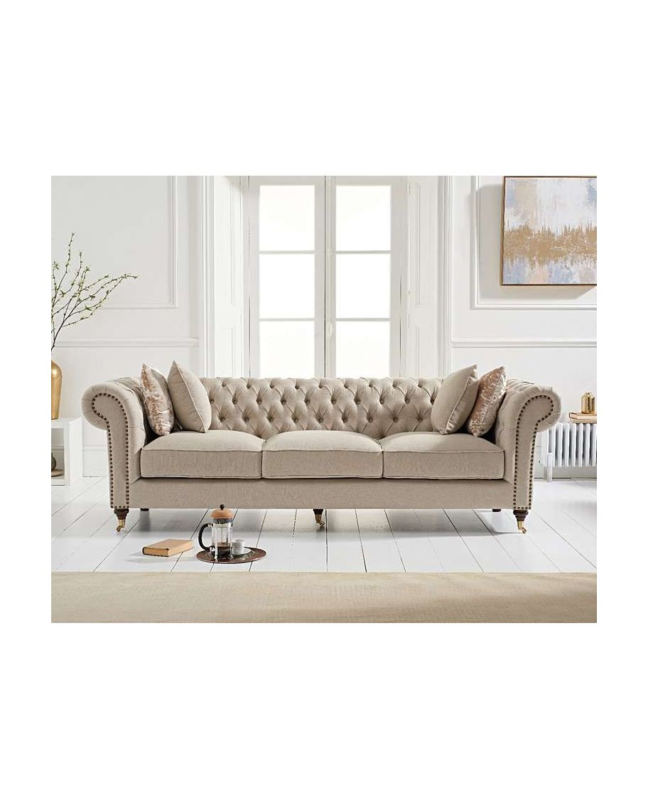 Camara Chesterfield Cream Linen 3 Seater Sofa