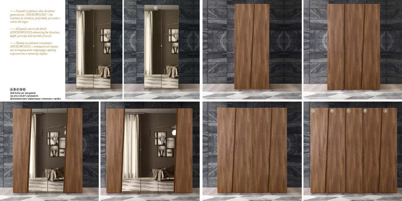 Storm Walnut Finish Italian 4 Door Mirror Wardrobe - ImagineX Furniture & Interiors