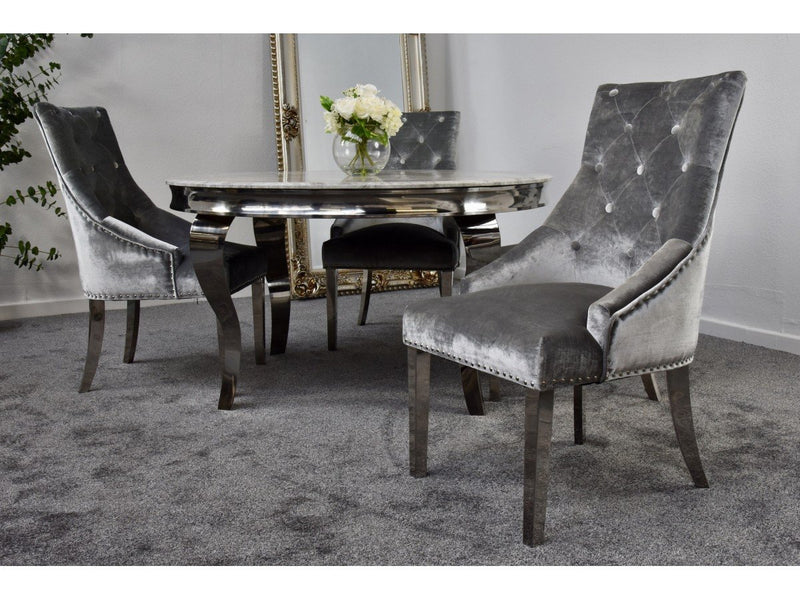 Louis 130cm Grey Marble Round Dining Table + Belle Plush Velvet Knocker Chairs - ImagineX Furniture & Interiors