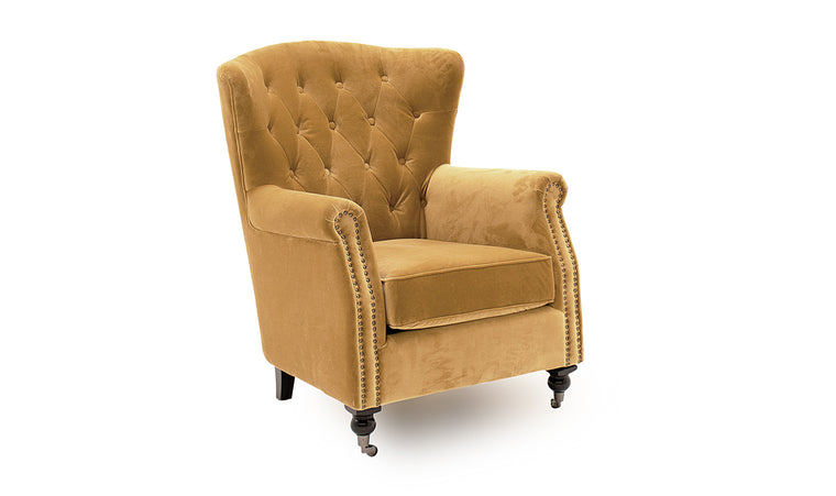 Darby Wingback Chair - Mustard