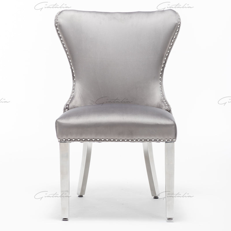 Florence Dark Grey French Plush Velvet Button Back Dining Chair With Chrome Legs