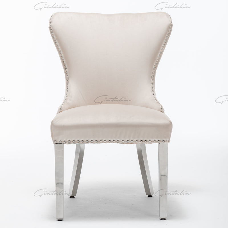 Florence Cream French Plush Velvet Button Back Dining Chair With Chrome Legs