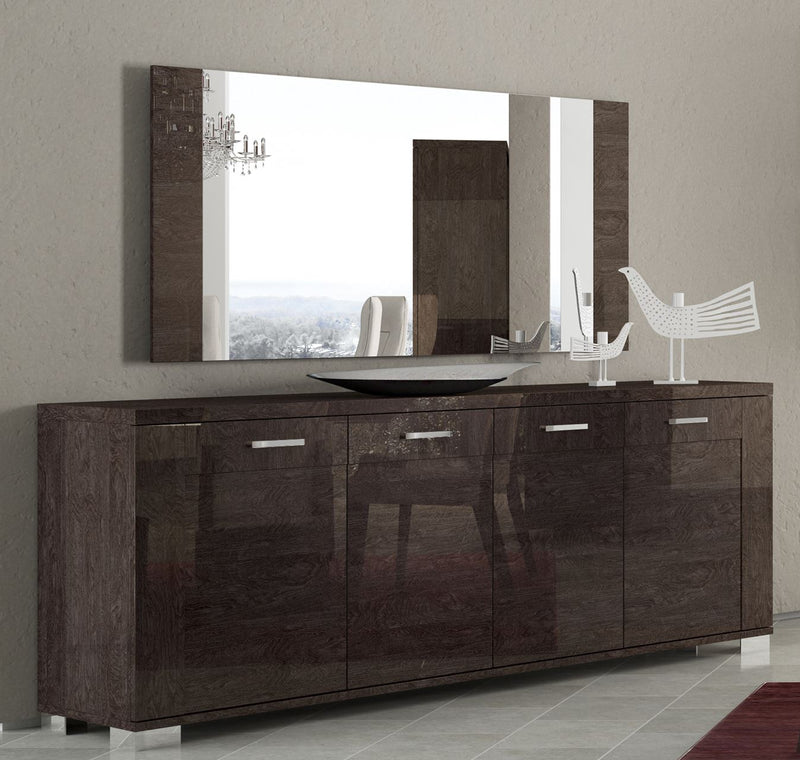 Prestige Umber Birch High Gloss Italian 4 Door Sideboard - ImagineX Furniture & Interiors