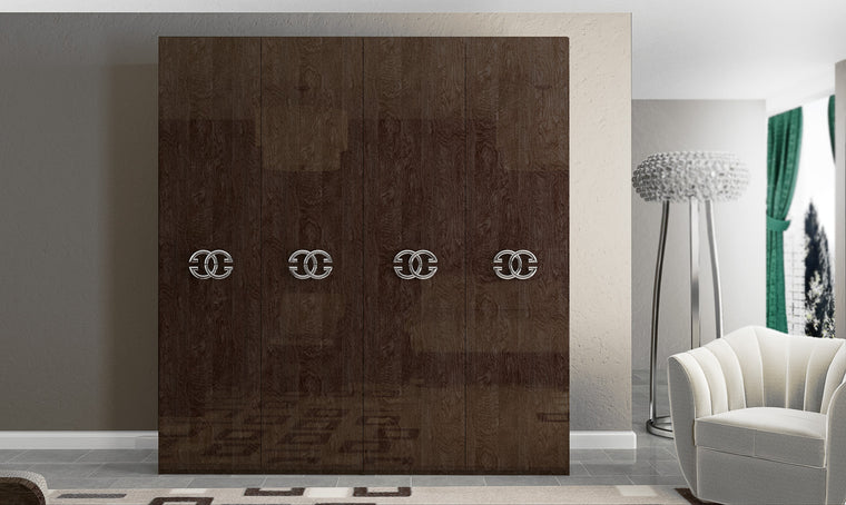 Prestige Umber Birch High Gloss Italian 4 Door Wardrobe