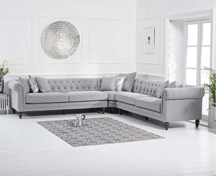 Lauren Grey Linen 2+2 Corner Sofa - ImagineX Furniture & Interiors