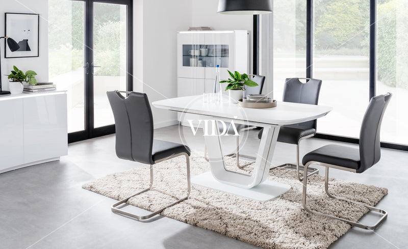 Lazzaro White High Gloss Extending 160 - 200CM Dining Table + Lazzaro Chairs - ImagineX Furniture & Interiors