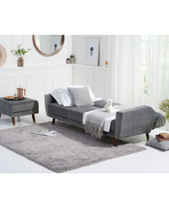 Leslie Grey Velvet Sofa Bed