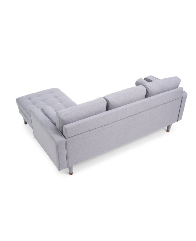 Liam Grey Linen 3 Seater Reversible Chaise Sofa