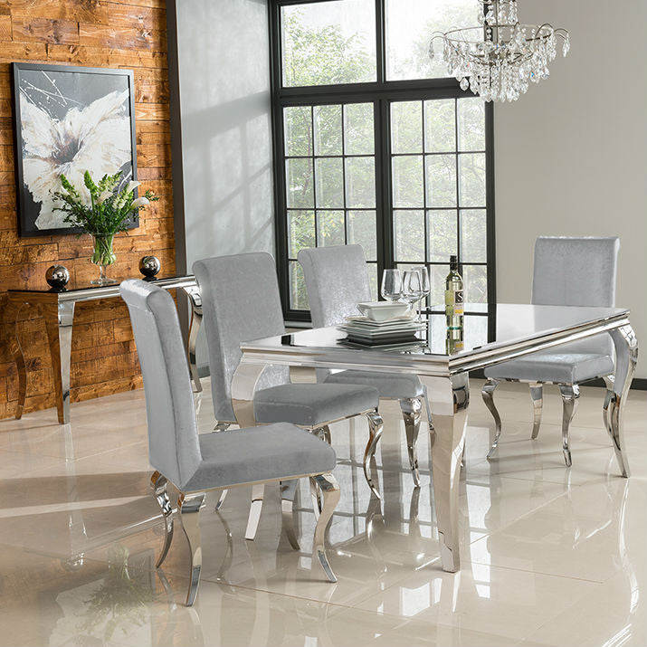 Louis 160cm White Tempered Glass Dining Table + 4 Silver Chairs
