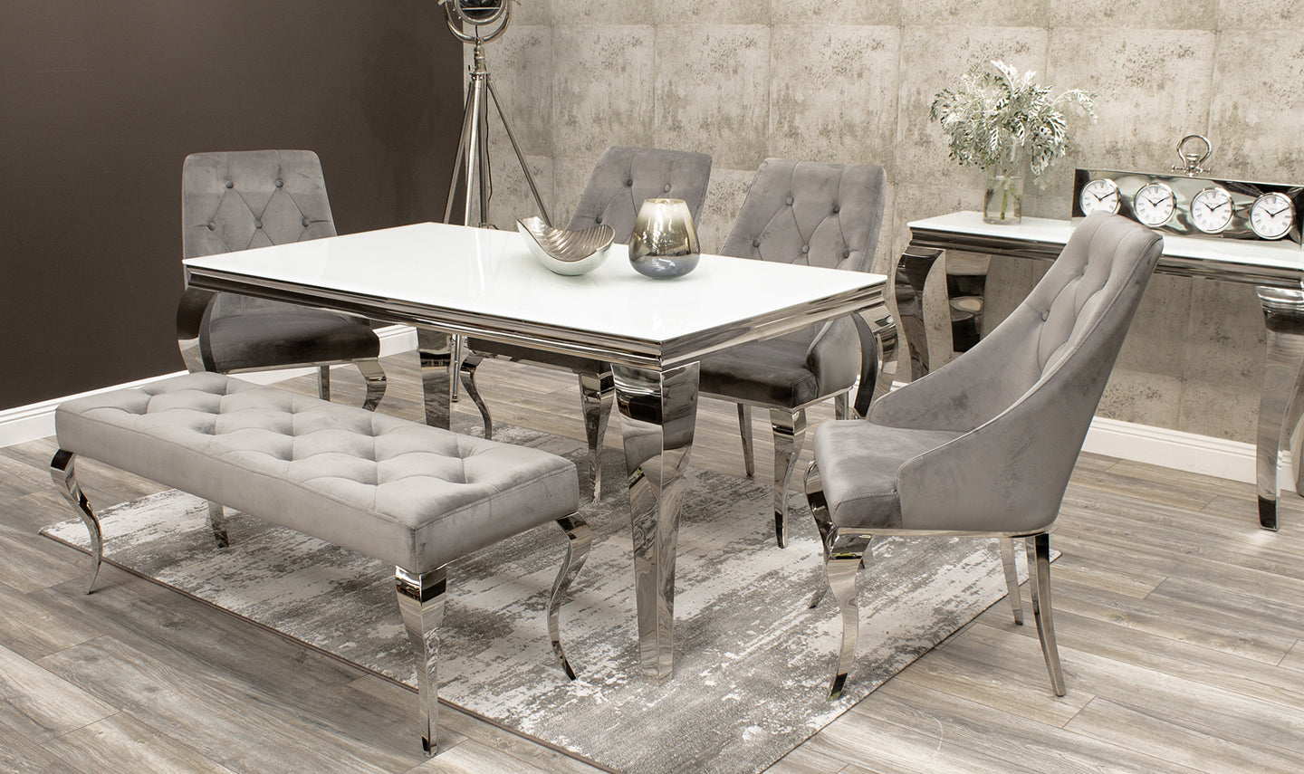Louis 200cm White Glass Dining Table Cassia Dining Chairs Louis Bench Set