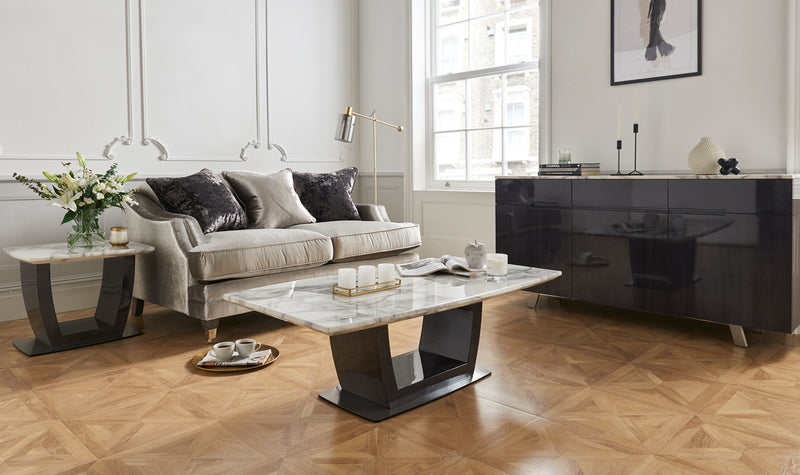 Luciana 130cm Grey with White Marble Top Coffee Table - ImagineX Furniture & Interiors