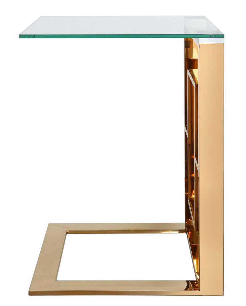 Value Ace Gold Metal Sofa End Table - ImagineX Furniture & Interiors
