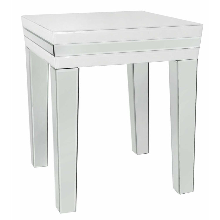 White Madison Mirror End Table