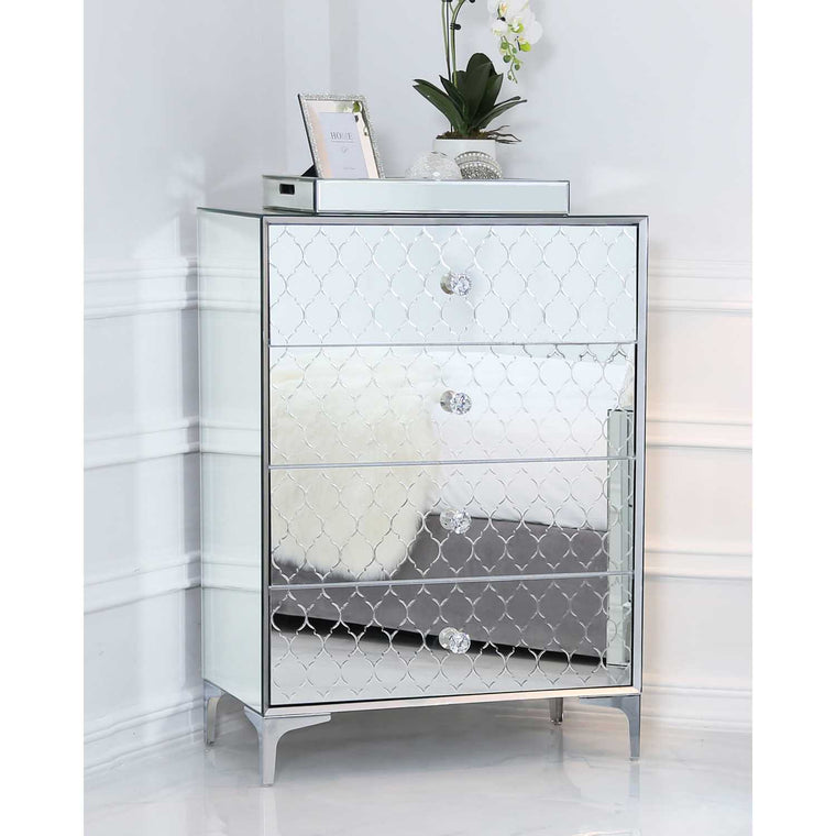 Sara Mirror 4 Drawer Chest