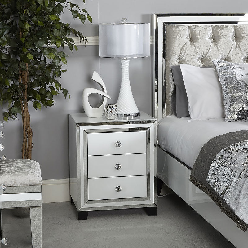 Madison White Glass 3 Drawer Mirrored Bedside Cabinet - ImagineX Furniture & Interiors