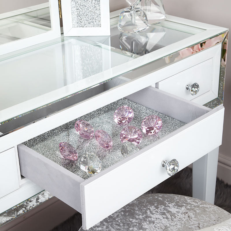 Madison White Glass & Mirrored Trim Clear Top 3 Drawer Dressing Table - ImagineX Furniture & Interiors