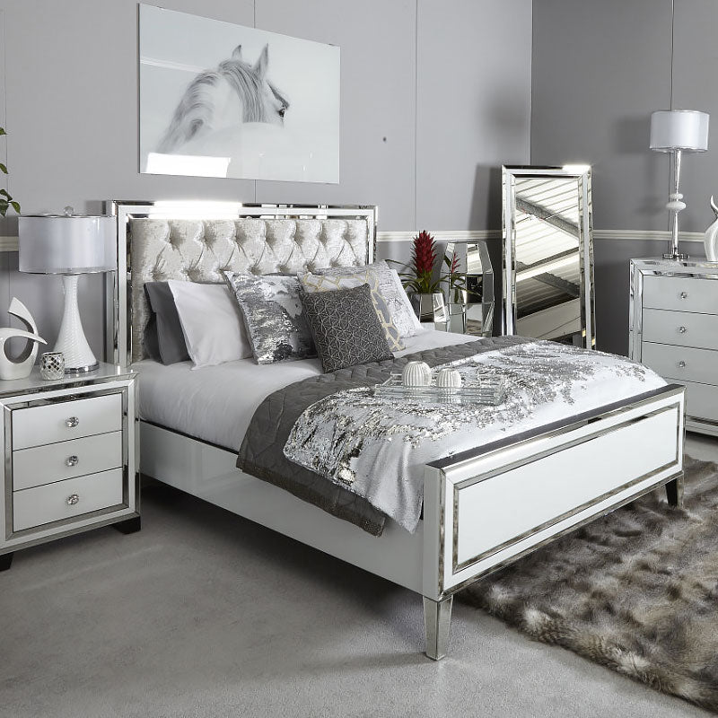Madison White Mirrored King Size Bed Frame - ImagineX Furniture & Interiors