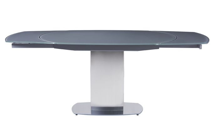 Olivia Glass Swivel Ext Dining Table Grey 130-190cm - ImagineX Furniture & Interiors