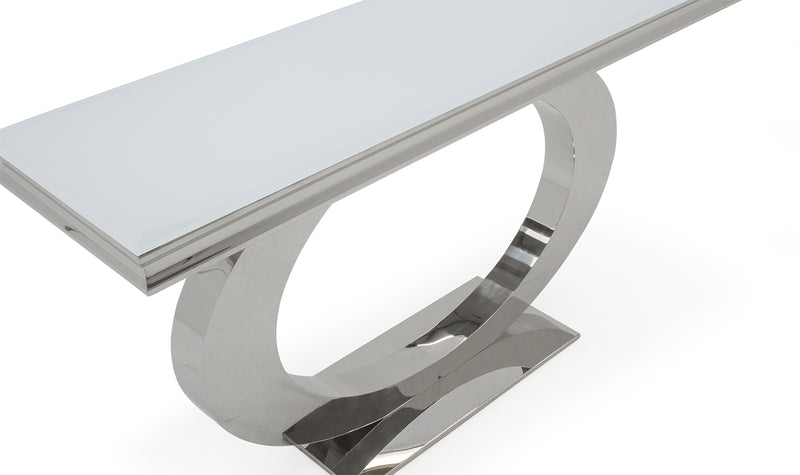 Ohio 140cm White Glass & Chrome Console Table - ImagineX Furniture & Interiors