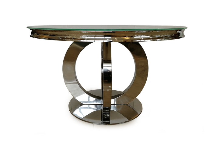 Ohio 130cm White Glass & Chrome Round Dining Table + 6 Eden Knockerback Dining Chairs - ImagineX Furniture & Interiors