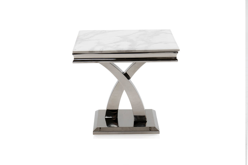 Ottavia Bone White Marble Lamp Table - ImagineX Furniture & Interiors
