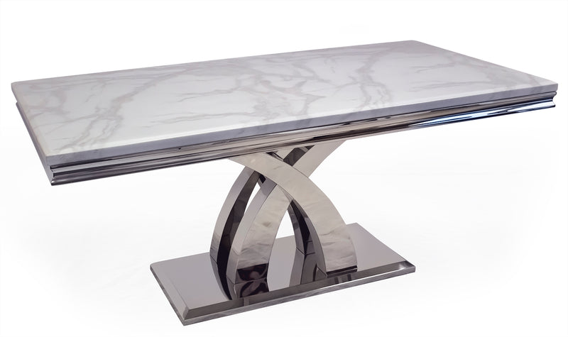 Ottavia Bone White Marble & Chrome 200cm Dining Table Only - ImagineX Furniture & Interiors
