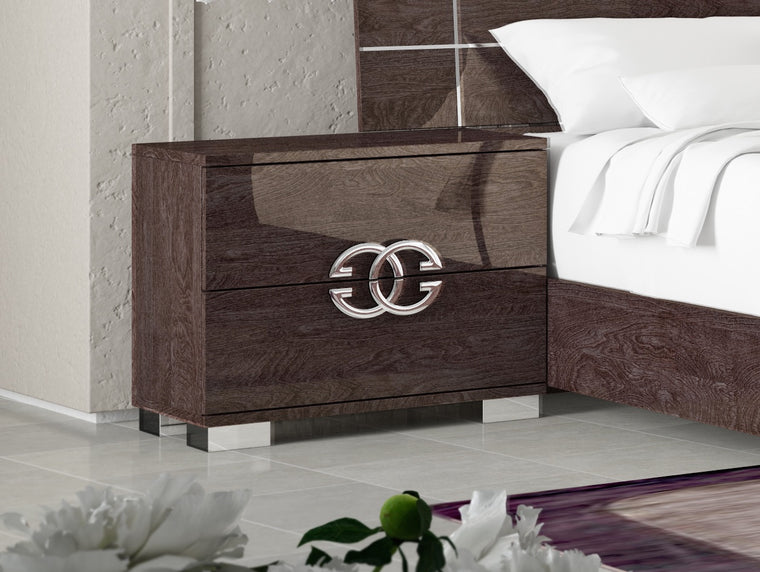 Prestige Umber Birch High Gloss Italian 2 Drawer Bedside Table