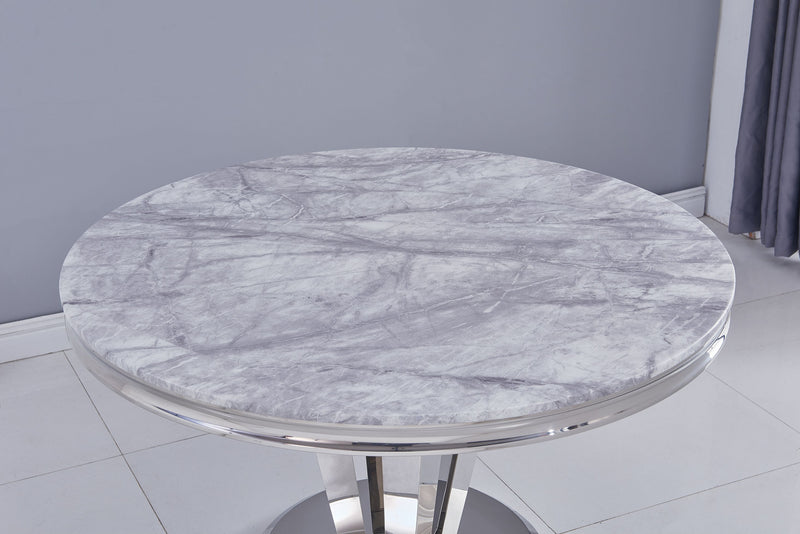 Riccardo Grey Marble Round 130cm Dining Table + Belgravia Grey Plush Velvet Chairs - ImagineX Furniture & Interiors