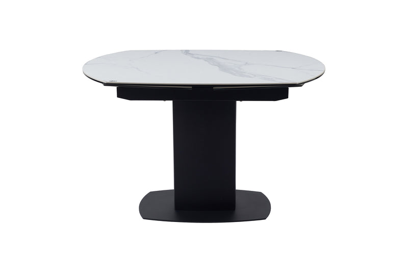 Ritz 120-180cm - White Ceramic Marble Swivel Mechanism Extending Table - ImagineX Furniture & Interiors