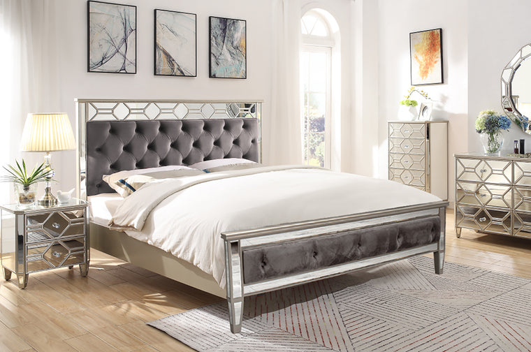 Rosa Mirror Upholstered Bed Frame - 4'6