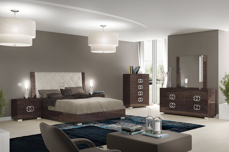 Prestige Umber Birch High Gloss Italian Lux Full Bedroom Set