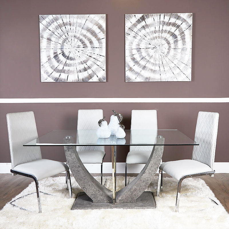 Leon 160cm Clear Glass and Chrome Grey Dining Table + 6 Grey Chairs - ImagineX Furniture & Interiors