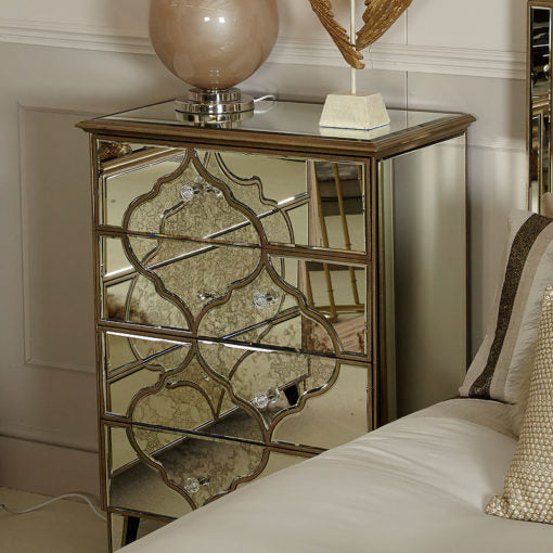 Mara Moroccan Gold Mirrored 4 Drawer Chest Of Drawers - ImagineX Furniture & Interiors