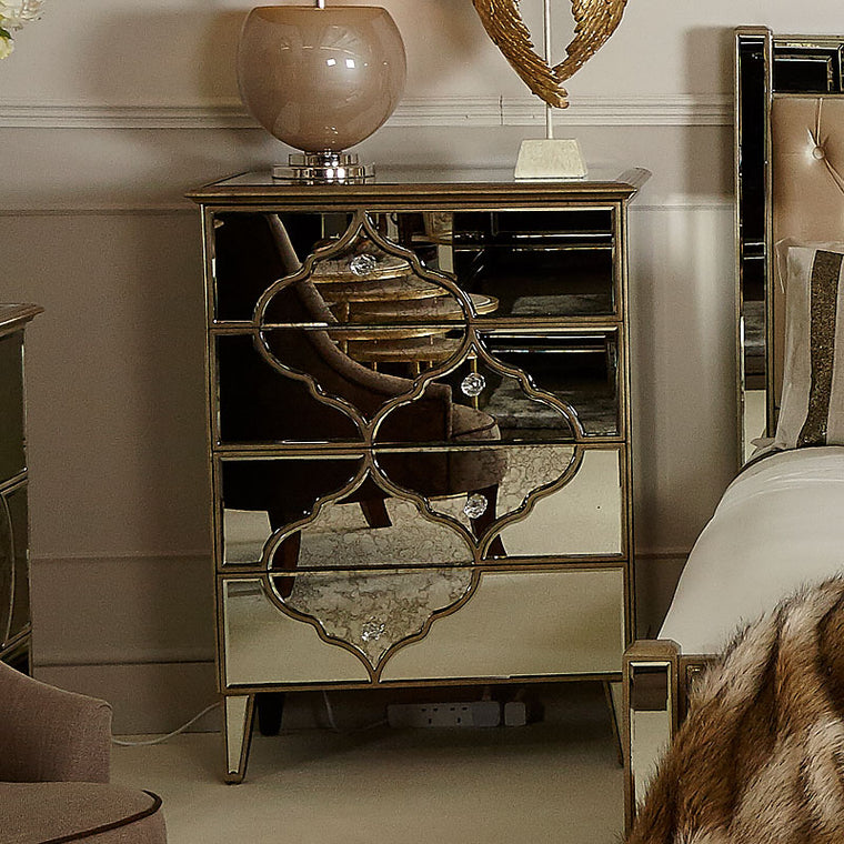 Mara Moroccan Gold Mirrored 4 Drawer Chest Of Drawers