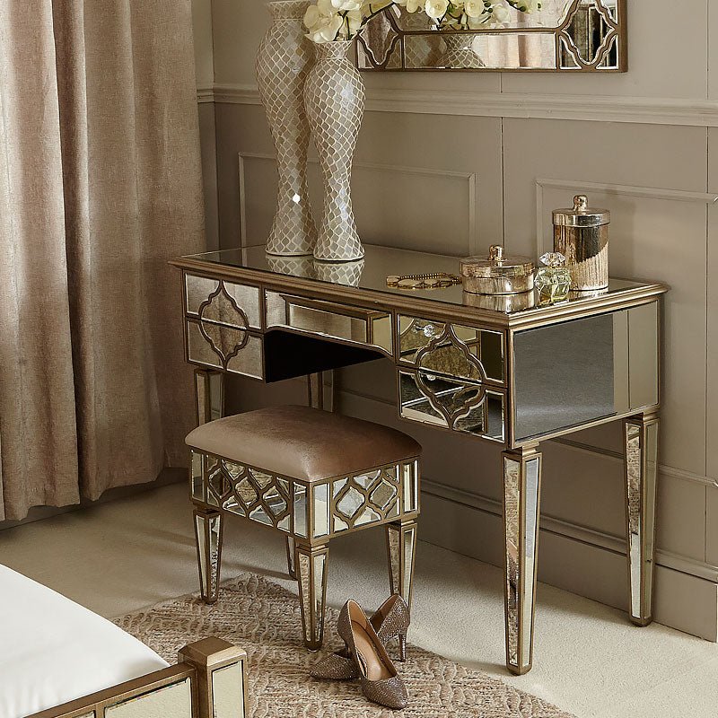 Mara Moroccan Gold Mirrored Dressing Table - ImagineX Furniture & Interiors