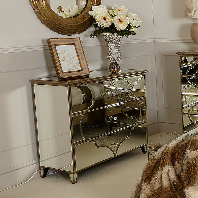 Mara Moroccan Gold Mirrored Large 3 Drawer Chest