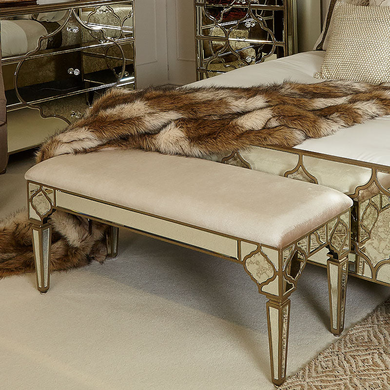 Mara Moroccan Gold Mirrored Upholstered Bench - ImagineX Furniture & Interiors