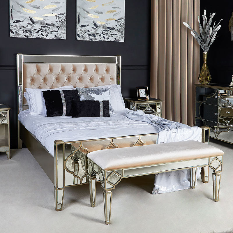 Mara Moroccan Gold Mirrored King Size Bed Frame - ImagineX Furniture & Interiors