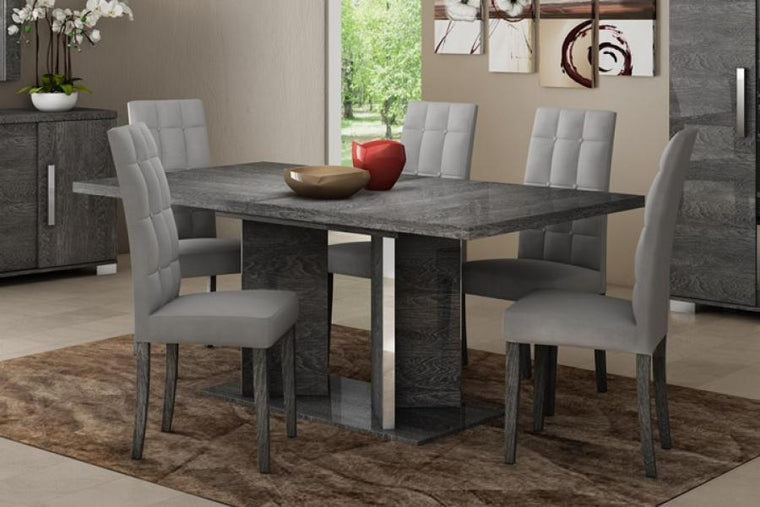 Sarah Grey Birch Italian Extending Dining Table + Chairs Set