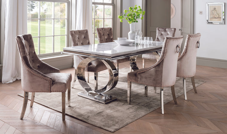 Selene Bone White Marble & Chrome 200cm Dining Table + Belle Plush Velvet Chairs
