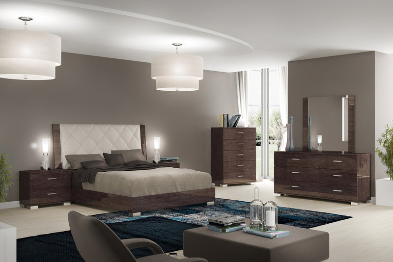 Prestige Umber Birch High Gloss Italian Bed Frame in 3 Sizes - ImagineX Furniture & Interiors